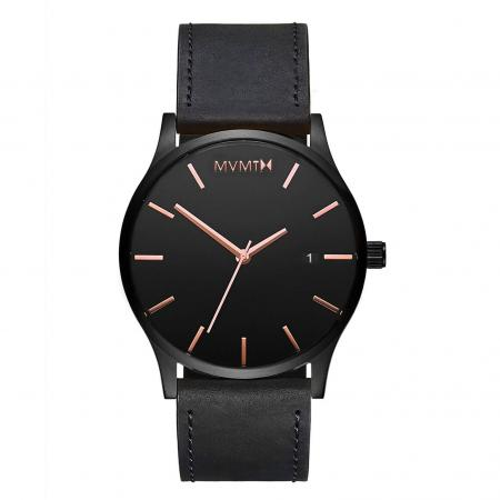 MVMT Classic Black Rose Leather