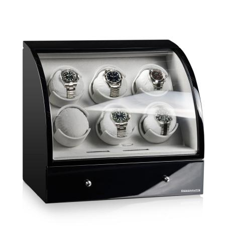 Designhütte Basel 6 LCD Watch Winder - Black