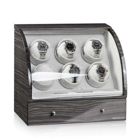 Designhütte Basel 6 LCD Watch Winder - Dark Oak